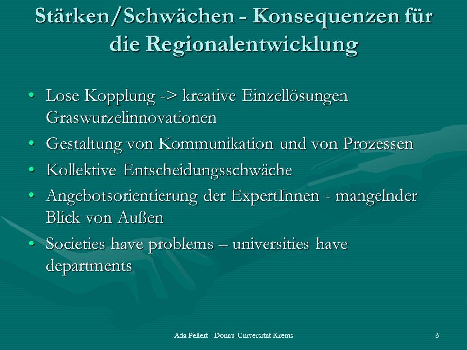 Ada Pellert - Donau-Universität Krems3 Stärken/Schwächen - Konsequenzen für die Regionalentwicklung Lose Kopplung -> kreative Einzellösungen Graswurze