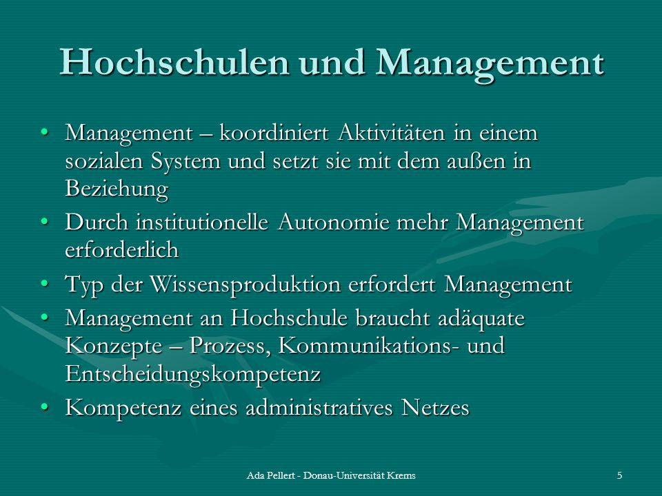 Ada Pellert - Donau-Universität Krems5 Hochschulen und Management Management – koordiniert Aktivitäten in einem sozialen System und setzt sie mit dem
