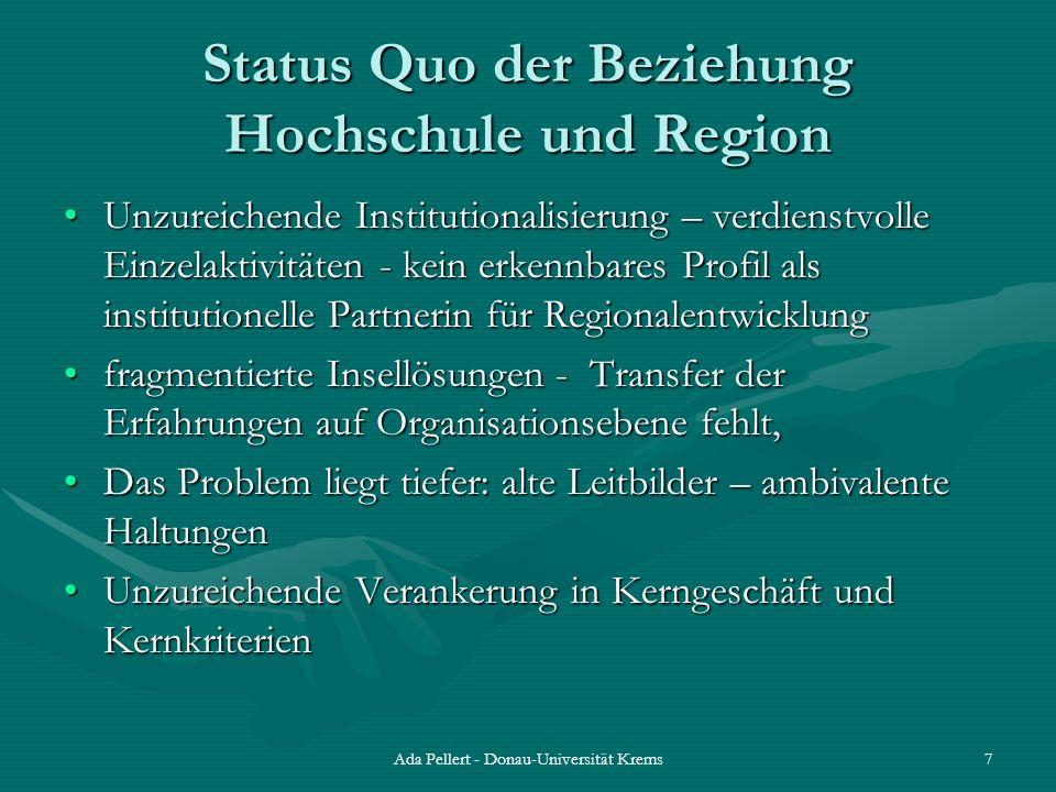 Ada Pellert - Donau-Universität Krems7 Status Quo der Beziehung Hochschule und Region Unzureichende Institutionalisierung – verdienstvolle Einzelaktiv