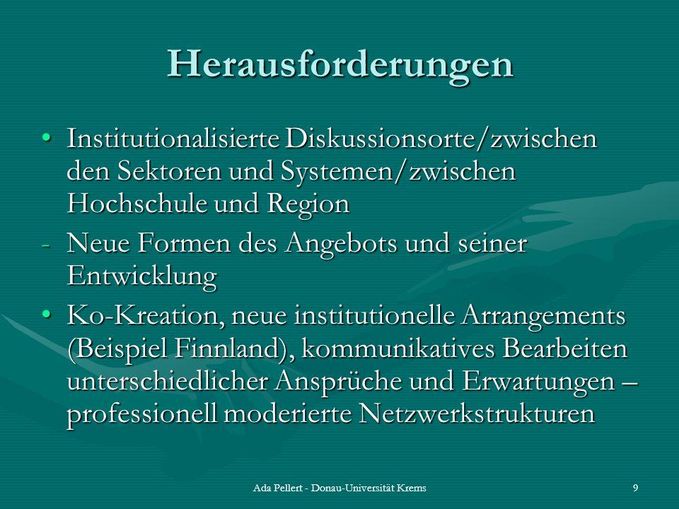 Ada Pellert - Donau-Universität Krems9 Herausforderungen Institutionalisierte Diskussionsorte/zwischen den Sektoren und Systemen/zwischen Hochschule u