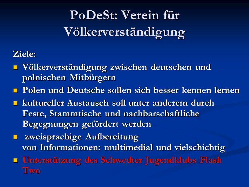 PoDeSt: Verein für Völkerverständigung Ziele: Völkerverständigung zwischen deutschen und polnischen Mitbürgern Völkerverständigung zwischen deutschen
