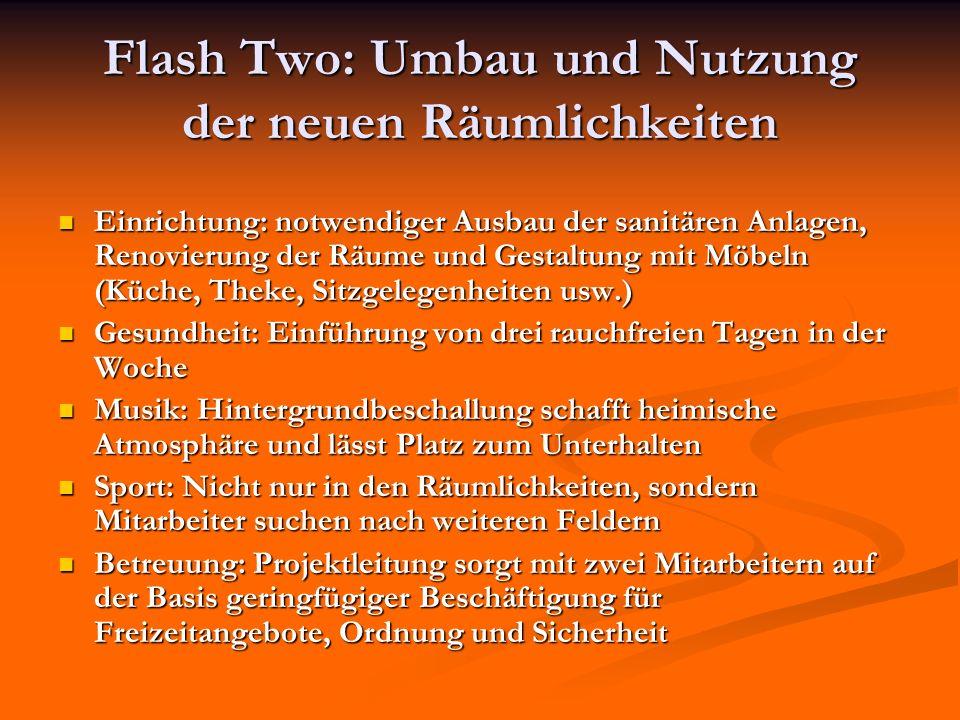 Flash Two: Umbau und Nutzung der neuen Räumlichkeiten Einrichtung: notwendiger Ausbau der sanitären Anlagen, Renovierung der Räume und Gestaltung mit