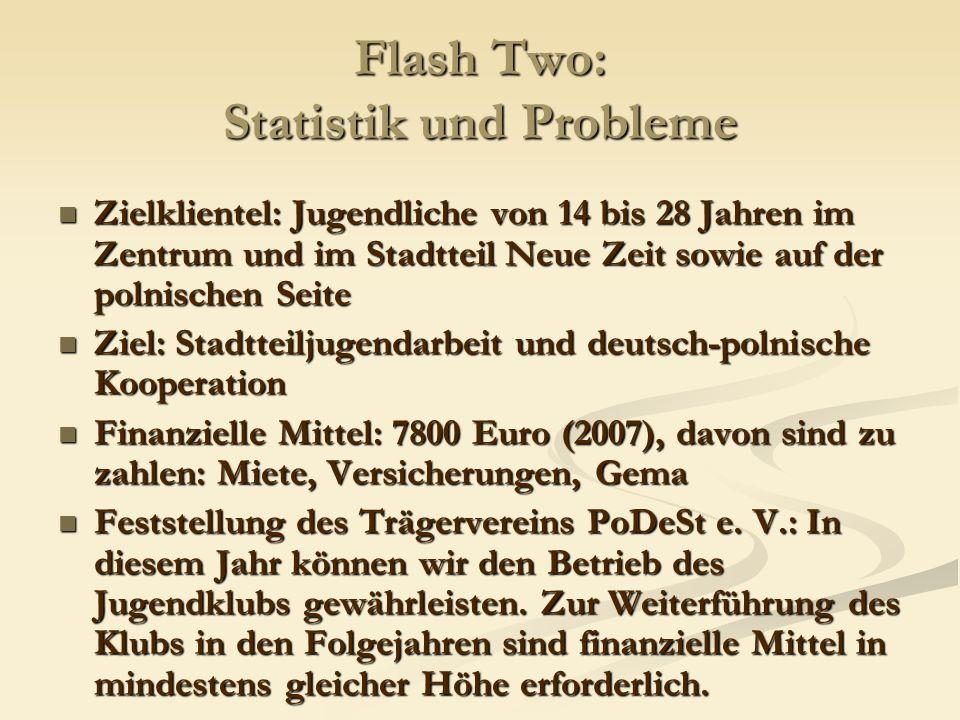 Flash Two: Statistik und Probleme Zielklientel: Jugendliche von 14 bis 28 Jahren im Zentrum und im Stadtteil Neue Zeit sowie auf der polnischen Seite