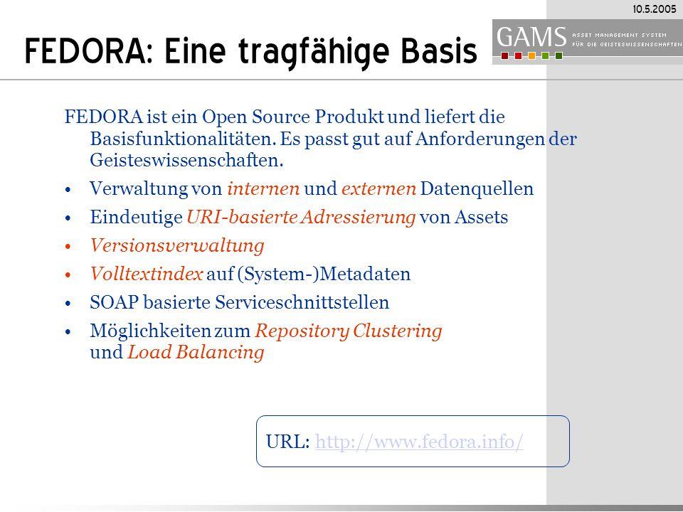 10.5.2005 FEDORA: Eine tragfähige Basis FEDORA ist ein Open Source Produkt und liefert die Basisfunktionalitäten.