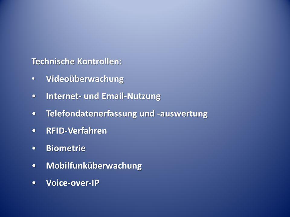 Technische Kontrollen: Videoüberwachung Videoüberwachung Internet- und Email-NutzungInternet- und Email-Nutzung Telefondatenerfassung und -auswertungTelefondatenerfassung und -auswertung RFID-VerfahrenRFID-Verfahren BiometrieBiometrie MobilfunküberwachungMobilfunküberwachung Voice-over-IPVoice-over-IP