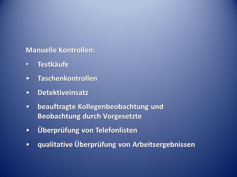 Manuelle Kontrollen: Testkäufe Testkäufe TaschenkontrollenTaschenkontrollen DetektiveinsatzDetektiveinsatz beauftragte Kollegenbeobachtung und Beobach