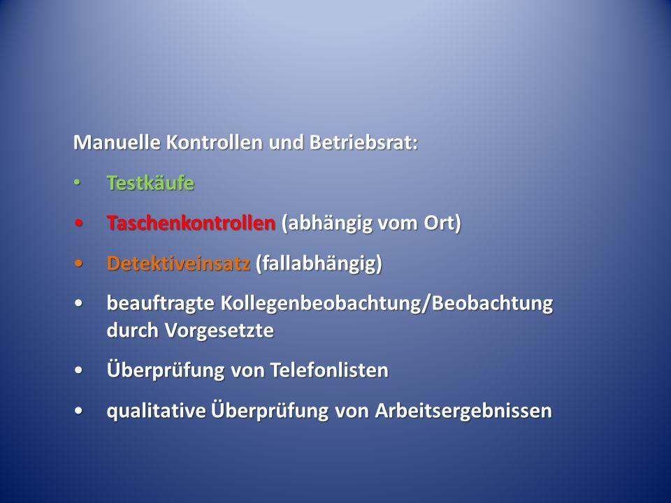 Manuelle Kontrollen und Betriebsrat: Testkäufe Testkäufe Taschenkontrollen (abhängig vom Ort)Taschenkontrollen (abhängig vom Ort) Detektiveinsatz (fal