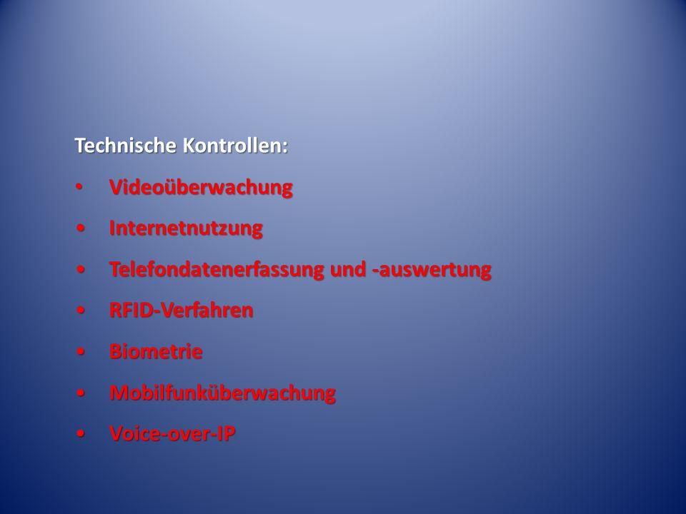 Technische Kontrollen: Videoüberwachung Videoüberwachung InternetnutzungInternetnutzung Telefondatenerfassung und -auswertungTelefondatenerfassung und -auswertung RFID-VerfahrenRFID-Verfahren BiometrieBiometrie MobilfunküberwachungMobilfunküberwachung Voice-over-IPVoice-over-IP