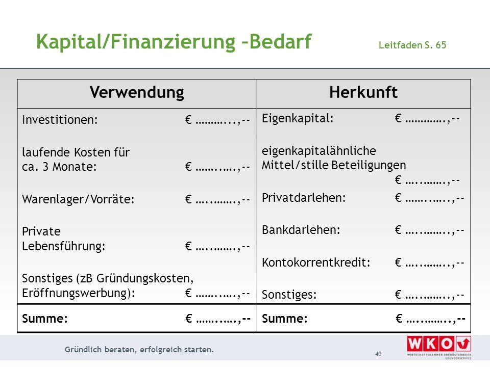 Gründlich beraten, erfolgreich starten. 40 Kapital/Finanzierung –Bedarf Leitfaden S. 65 VerwendungHerkunft Investitionen: ………...,-- laufende Kosten fü