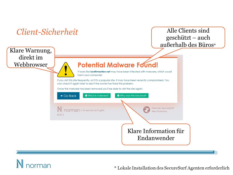 Client-Sicherheit Klare Warnung, direkt im Webbrowser Alle Clients sind geschützt – auch außerhalb des Büros * * Lokale Installation des SecureSurf Ag