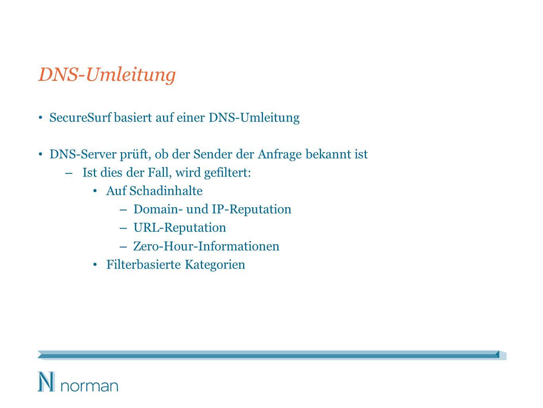DNS-Umleitung SecureSurf basiert auf einer DNS-Umleitung DNS-Server prüft, ob der Sender der Anfrage bekannt ist – Ist dies der Fall, wird gefiltert: