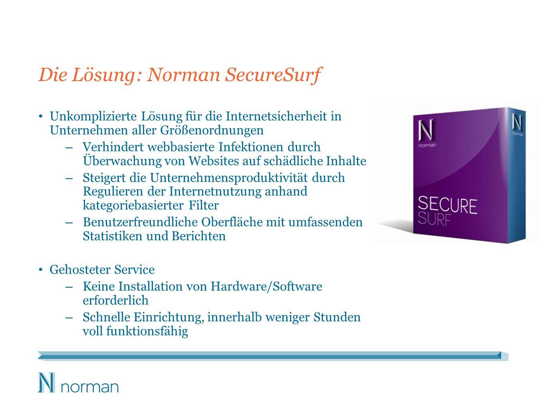 Die Lösung: Norman SecureSurf Unkomplizierte Lösung für die Internetsicherheit in Unternehmen aller Größenordnungen – Verhindert webbasierte Infektion