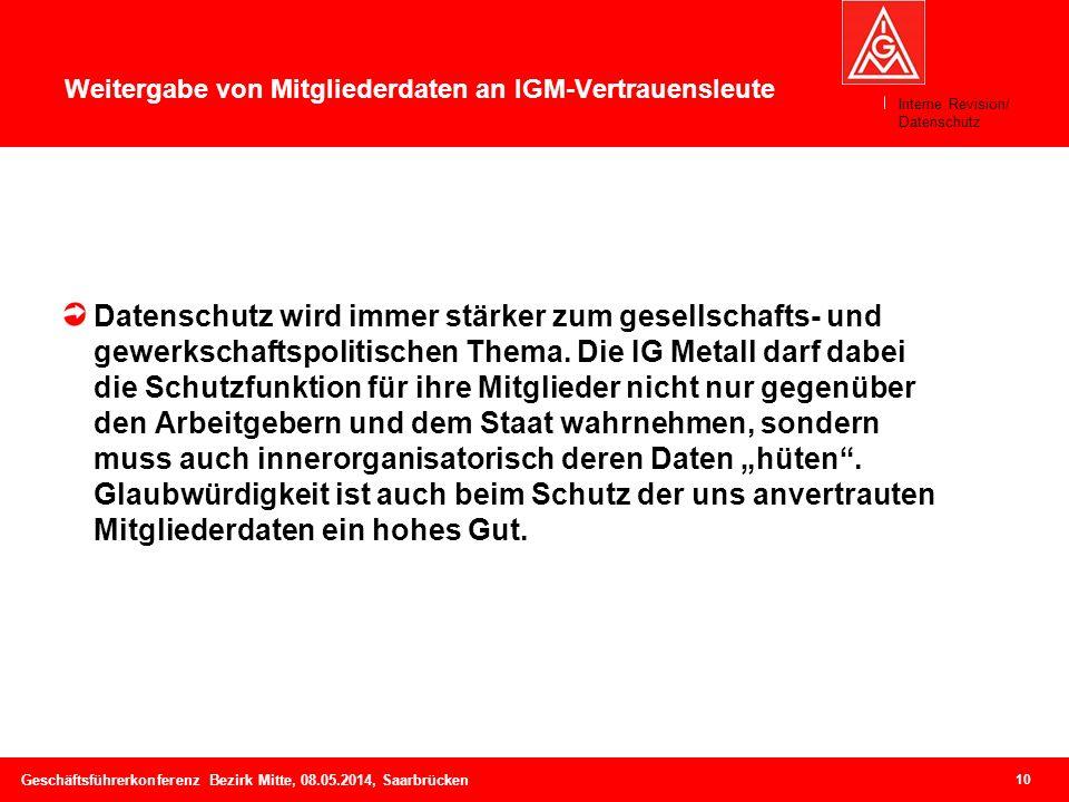10 Geschäftsführerkonferenz Bezirk Mitte, 08.05.2014, Saarbrücken Weitergabe von Mitgliederdaten an IGM-Vertrauensleute Datenschutz wird immer stärker