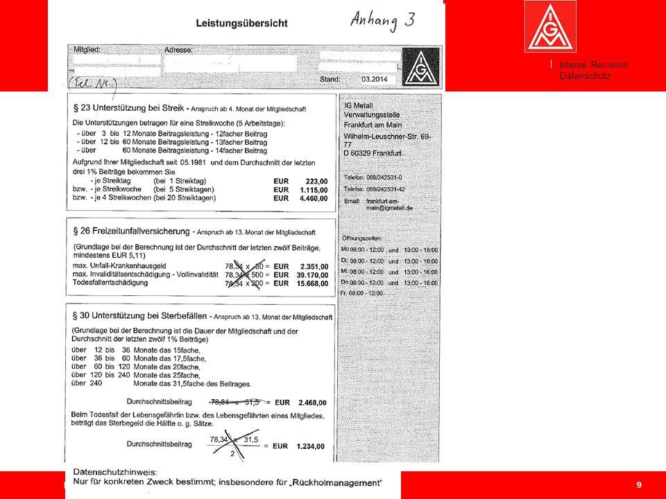 9 Geschäftsführerkonferenz Bezirk Berlin-Brandenburg-Sachsen, 31.03.2014 Weitergabe von Mitgliederdaten an IGM-Vertrauensleute Interne Revision/ Daten