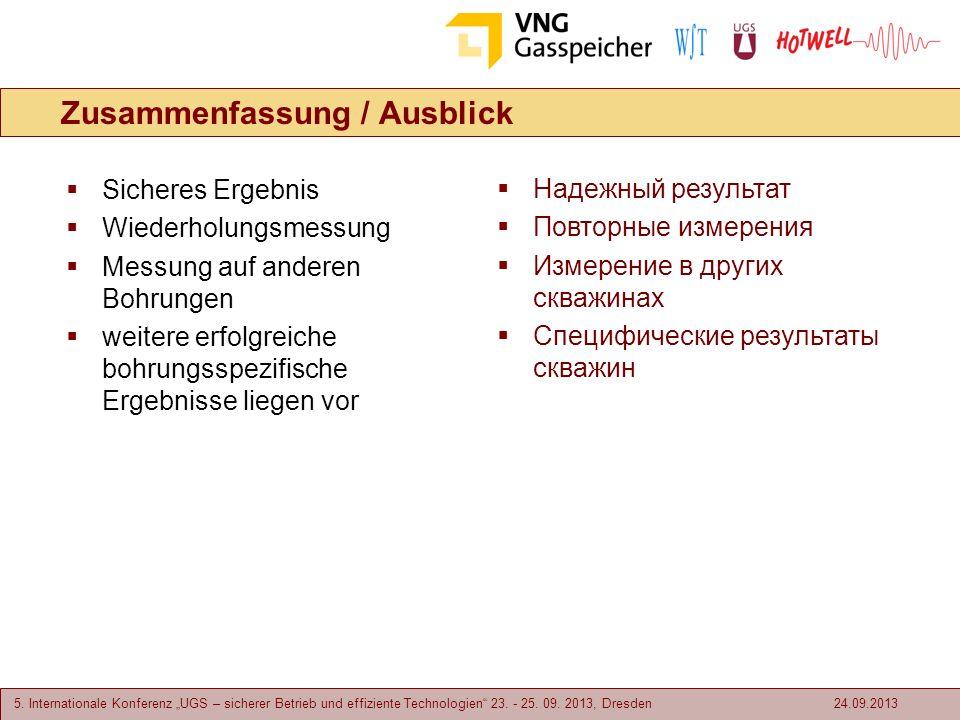5. Internationale Konferenz UGS – sicherer Betrieb und effiziente Technologien 23. - 25. 09. 2013, Dresden Zusammenfassung / Ausblick 24.09.2013 Siche