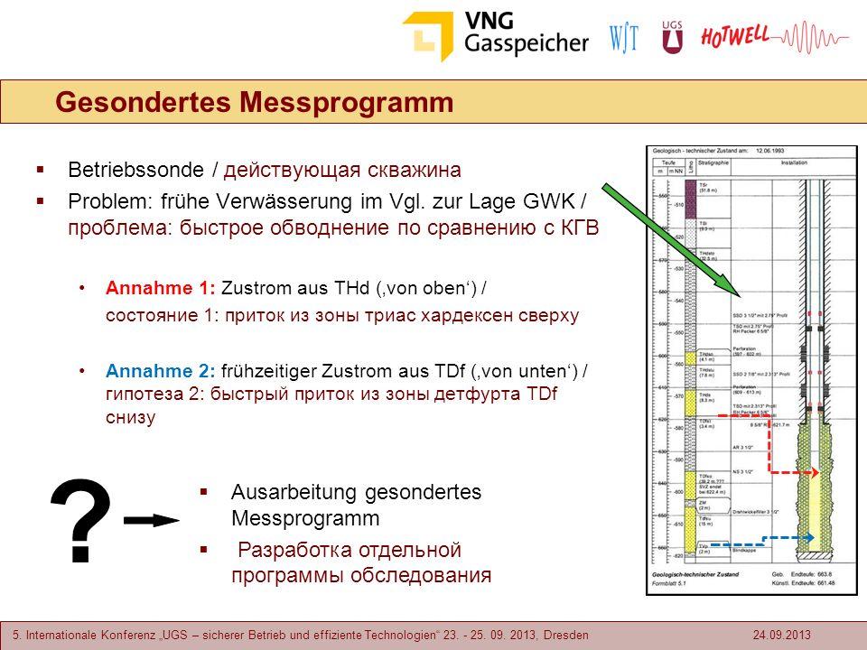5. Internationale Konferenz UGS – sicherer Betrieb und effiziente Technologien 23. - 25. 09. 2013, Dresden Gesondertes Messprogramm Betriebssonde / де