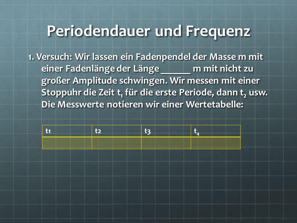 Periodendauer und Frequenz 1. Versuch: Wir lassen ein Fadenpendel der Masse m mit einer Fadenlänge der Länge ______ m mit nicht zu großer Amplitude sc