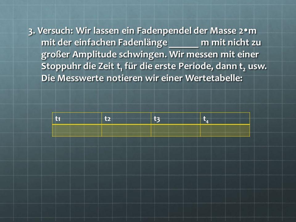 3. Versuch: Wir lassen ein Fadenpendel der Masse 2 m mit der einfachen Fadenlänge ______ m mit nicht zu großer Amplitude schwingen. Wir messen mit ein