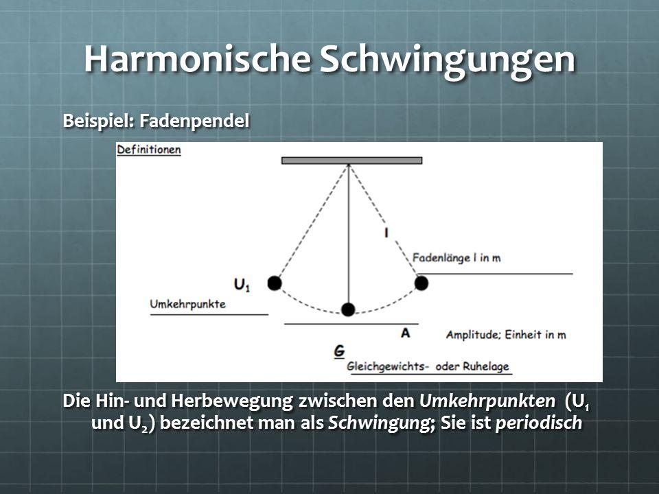 Harmonische Schwingungen Beispiel: Fadenpendel Die Hin- und Herbewegung zwischen den Umkehrpunkten (U 1 und U 2 ) bezeichnet man als Schwingung; Sie i