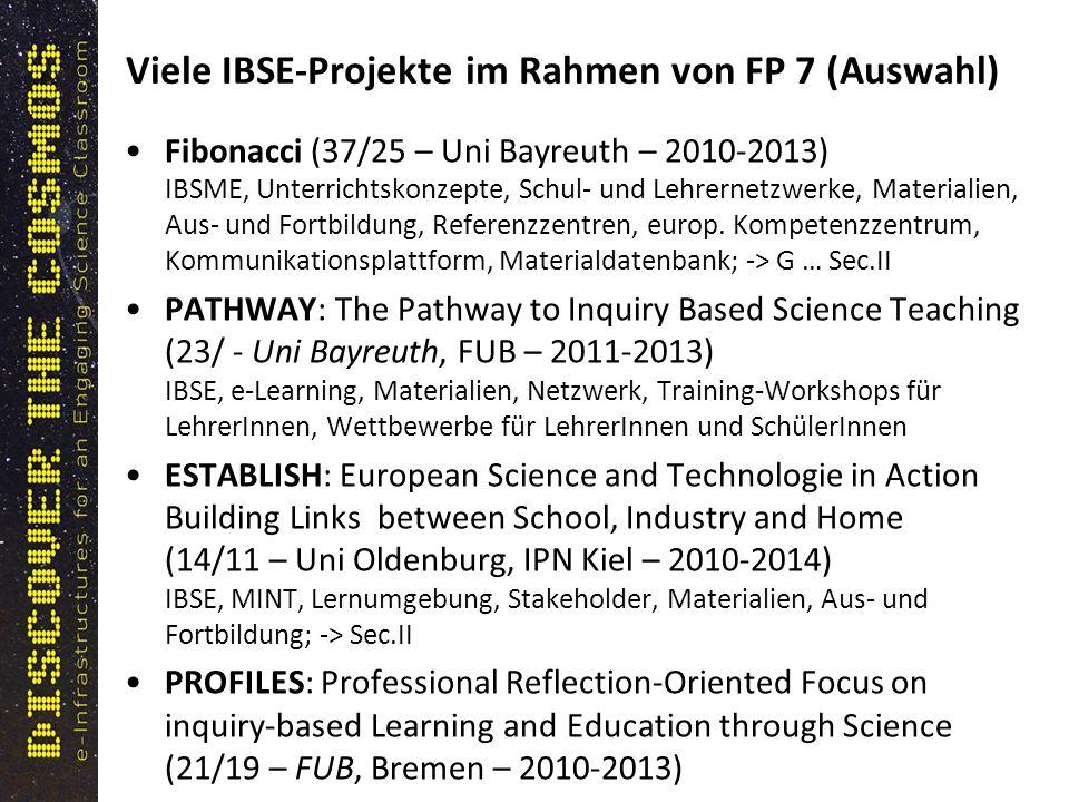 Viele IBSE-Projekte im Rahmen von FP 7 (Auswahl) Fibonacci (37/25 – Uni Bayreuth – 2010-2013) IBSME, Unterrichtskonzepte, Schul- und Lehrernetzwerke, Materialien, Aus- und Fortbildung, Referenzzentren, europ.