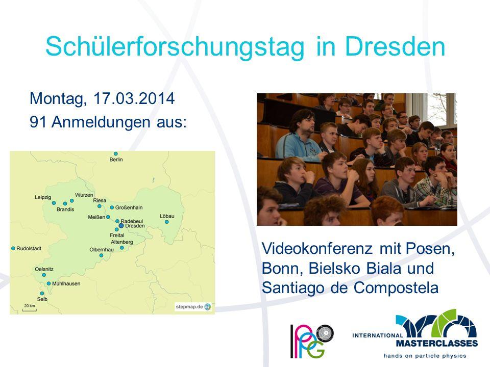 Schülerforschungstag in Dresden Montag, 17.03.2014 91 Anmeldungen aus: Videokonferenz mit Posen, Bonn, Bielsko Biala und Santiago de Compostela