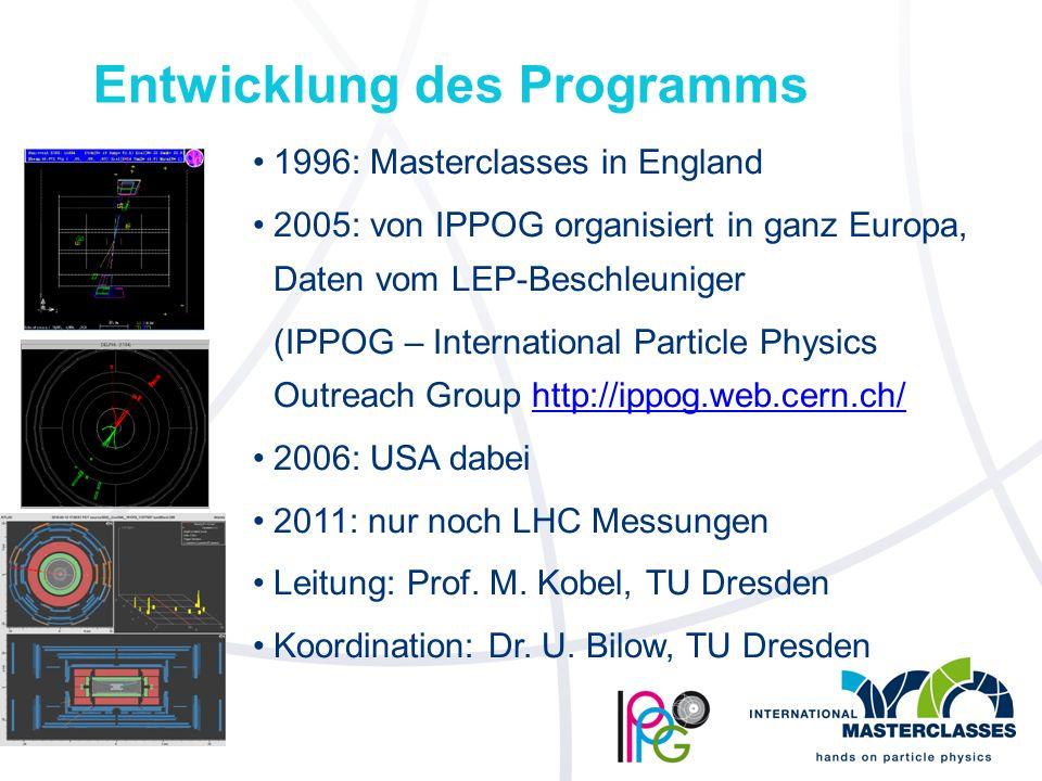 Entwicklung des Programms 1996: Masterclasses in England 2005: von IPPOG organisiert in ganz Europa, Daten vom LEP-Beschleuniger (IPPOG – International Particle Physics Outreach Group http://ippog.web.cern.ch/http://ippog.web.cern.ch/ 2006: USA dabei 2011: nur noch LHC Messungen Leitung: Prof.