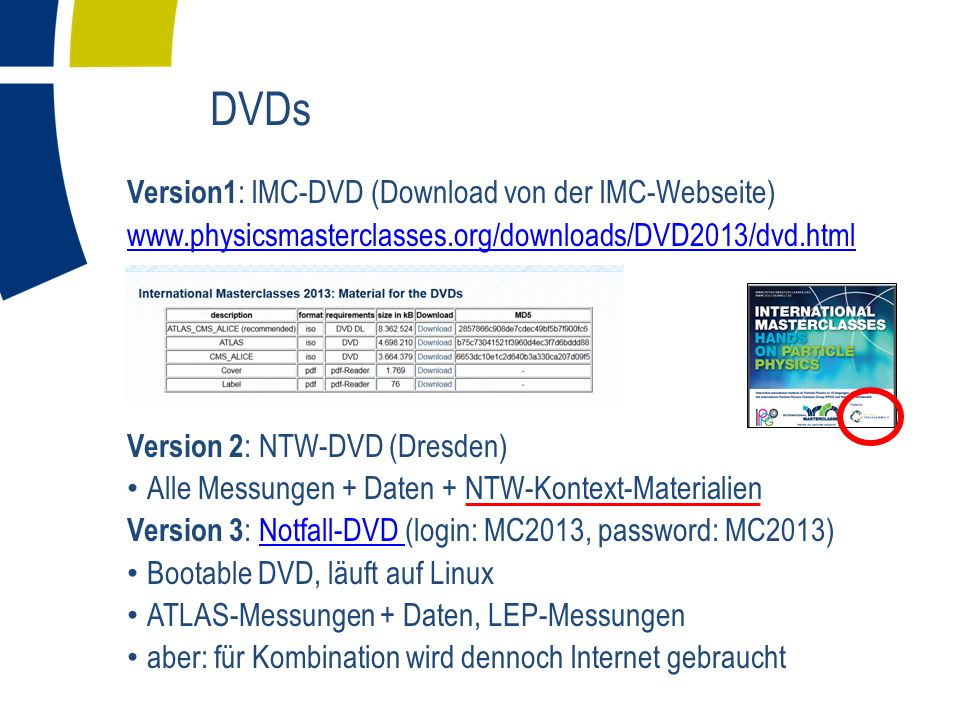 DVDs Version1 : IMC-DVD (Download von der IMC-Webseite)   Version 2 : NTW-DVD (Dresden) Alle Messungen + Daten + NTW-Kontext-Materialien Version 3 : Notfall-DVD (login: MC2013, password: MC2013)Notfall-DVD Bootable DVD, läuft auf Linux ATLAS-Messungen + Daten, LEP-Messungen aber: für Kombination wird dennoch Internet gebraucht