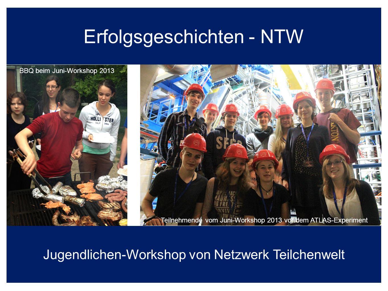 Erfolgsgeschichten - NTW Jugendlichen-Workshop von Netzwerk Teilchenwelt Teilnehmende vom Juni-Workshop 2013 vor dem ATLAS-Experiment BBQ beim Juni-Workshop 2013