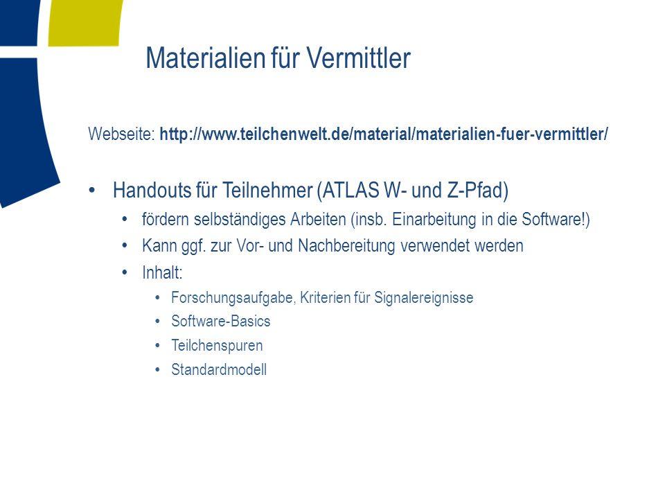 Webseite: http://www.teilchenwelt.de/material/materialien-fuer-vermittler/ Handouts für Teilnehmer (ATLAS W- und Z-Pfad) fördern selbständiges Arbeiten (insb.