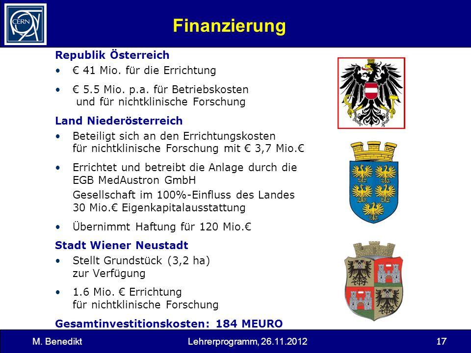 17 Finanzierung Republik Österreich 41 Mio. für die Errichtung 5.5 Mio. p.a. für Betriebskosten und für nichtklinische Forschung Land Niederösterreich