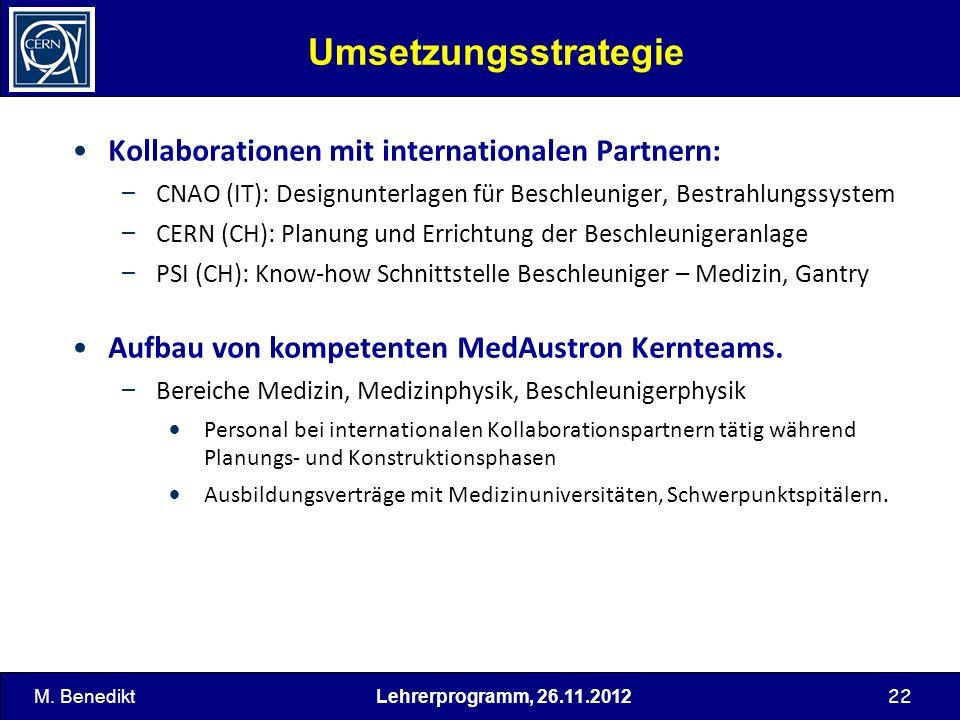 22 Umsetzungsstrategie Kollaborationen mit internationalen Partnern: – CNAO (IT): Designunterlagen für Beschleuniger, Bestrahlungssystem – CERN (CH):