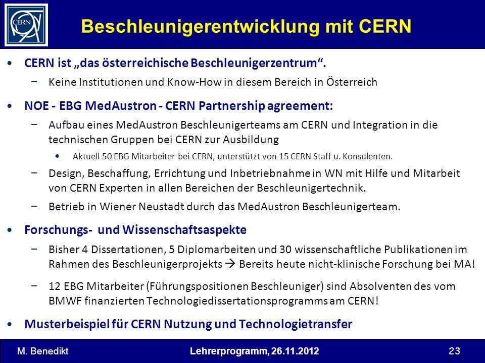 23 Beschleunigerentwicklung mit CERN CERN ist das österreichische Beschleunigerzentrum. – Keine Institutionen und Know-How in diesem Bereich in Österr