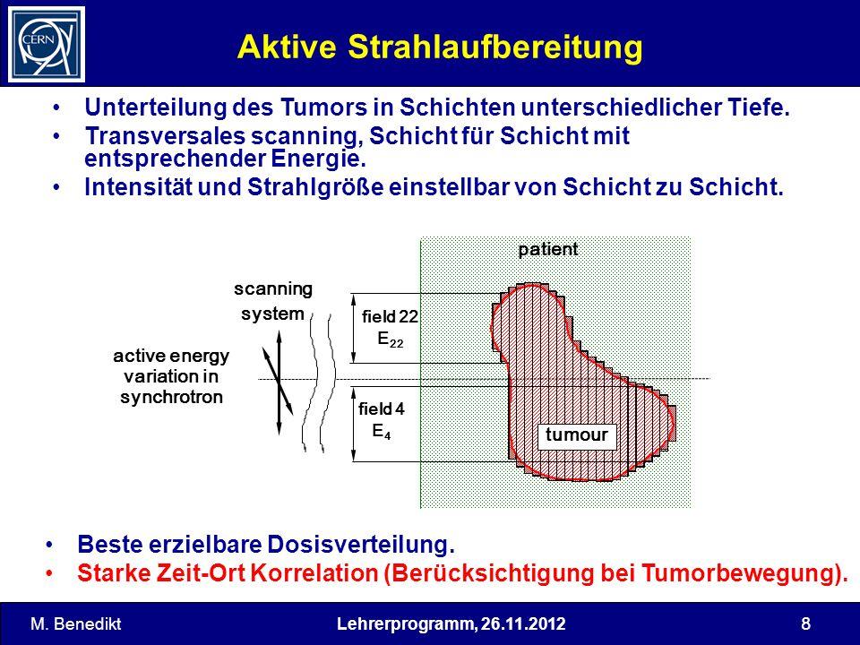 Lehrerprogramm, 26.11.2012 8 Aktive Strahlaufbereitung Unterteilung des Tumors in Schichten unterschiedlicher Tiefe. Transversales scanning, Schicht f
