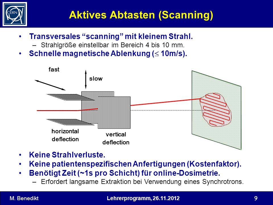 Lehrerprogramm, 26.11.2012 9 Aktives Abtasten (Scanning) Transversales scanning mit kleinem Strahl. –Strahlgröße einstellbar im Bereich 4 bis 10 mm. S