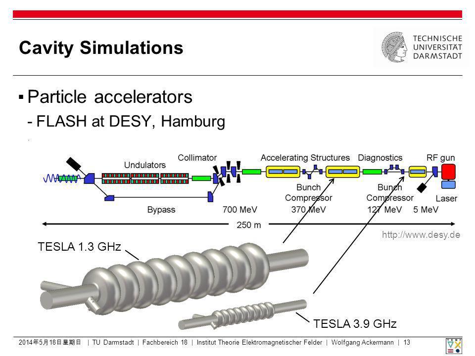 2014518 2014518 2014518 2014518 2014518 2014518 | TU Darmstadt | Fachbereich 18 | Institut Theorie Elektromagnetischer Felder | Wolfgang Ackermann | 13 Cavity Simulations Particle accelerators -FLASH at DESY, Hamburg http://www.desy.de TESLA 1.3 GHz TESLA 3.9 GHz