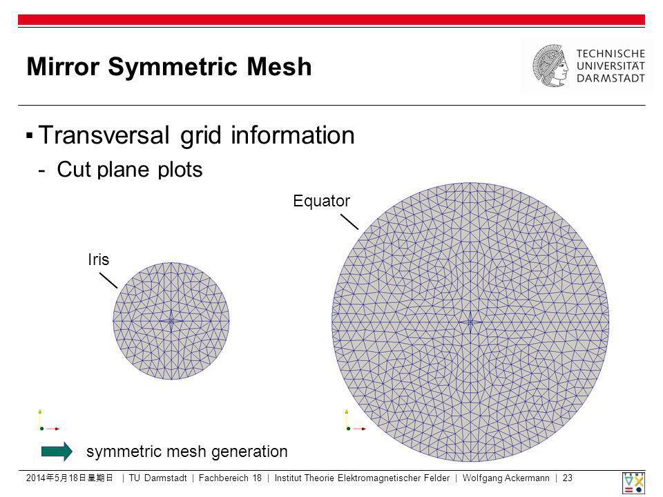 Mirror Symmetric Mesh Transversal grid information - Cut plane plots 2014518 2014518 2014518 2014518 2014518 2014518 | TU Darmstadt | Fachbereich 18 | Institut Theorie Elektromagnetischer Felder | Wolfgang Ackermann | 23 Iris Equator symmetric mesh generation