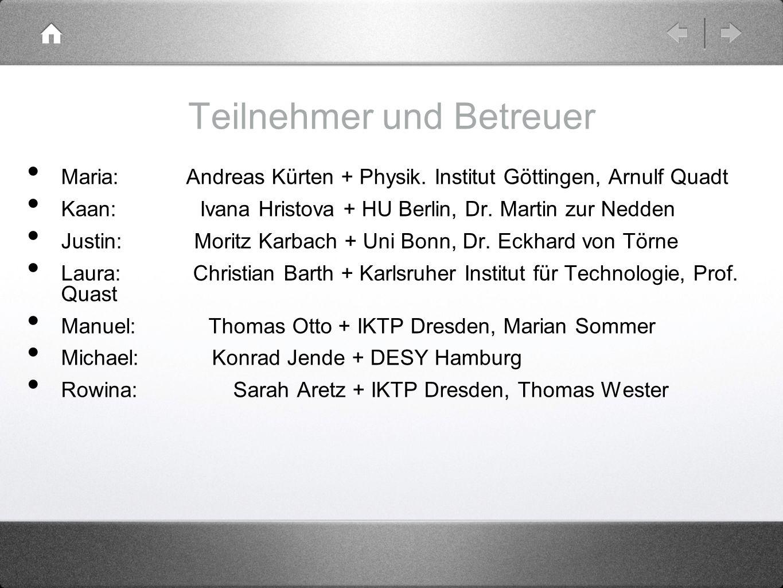 Teilnehmer und Betreuer Maria: Andreas Kürten + Physik. Institut Göttingen, Arnulf Quadt Kaan: Ivana Hristova + HU Berlin, Dr. Martin zur Nedden Justi