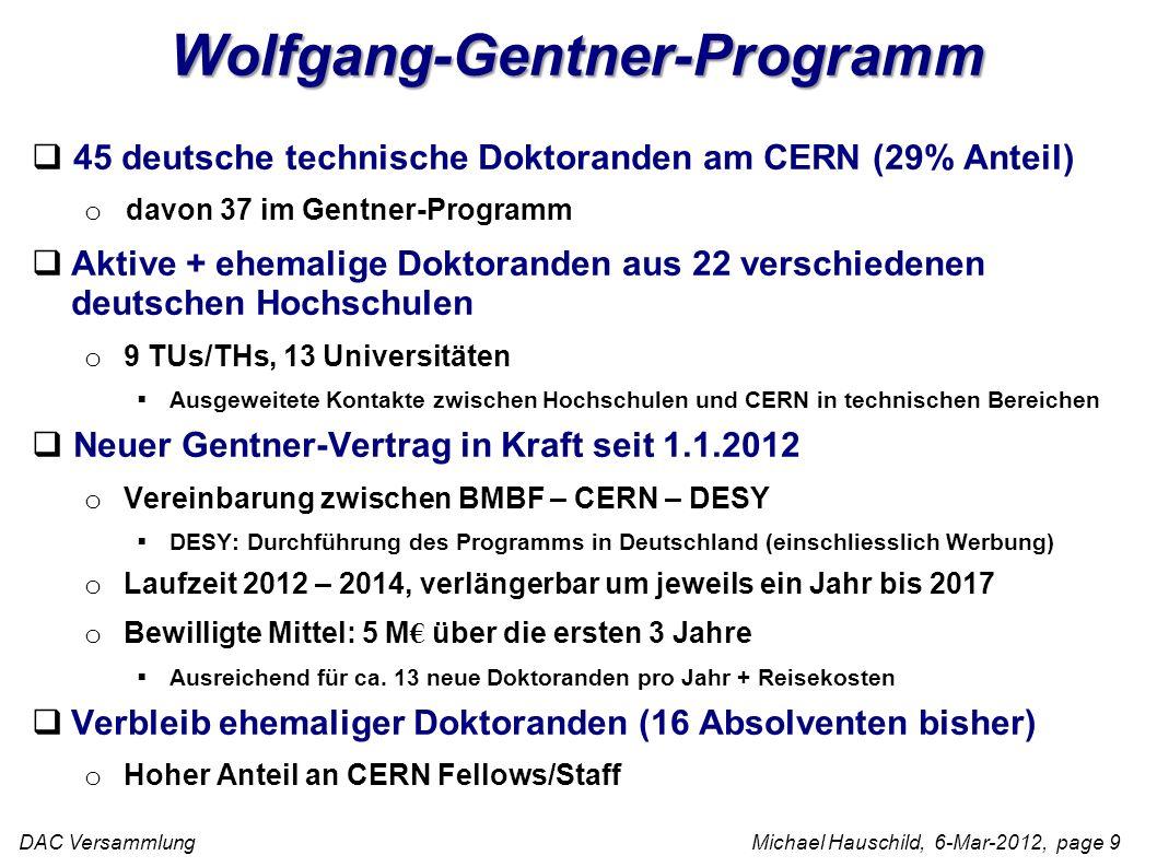 DAC Versammlung Michael Hauschild, 6-Mar-2012, page 9 Wolfgang-Gentner-Programm 45 deutsche technische Doktoranden am CERN (29% Anteil) o davon 37 im Gentner-Programm Aktive + ehemalige Doktoranden aus 22 verschiedenen deutschen Hochschulen o 9 TUs/THs, 13 Universitäten Ausgeweitete Kontakte zwischen Hochschulen und CERN in technischen Bereichen Neuer Gentner-Vertrag in Kraft seit 1.1.2012 o Vereinbarung zwischen BMBF – CERN – DESY DESY: Durchführung des Programms in Deutschland (einschliesslich Werbung) o Laufzeit 2012 – 2014, verlängerbar um jeweils ein Jahr bis 2017 o Bewilligte Mittel: 5 M über die ersten 3 Jahre Ausreichend für ca.