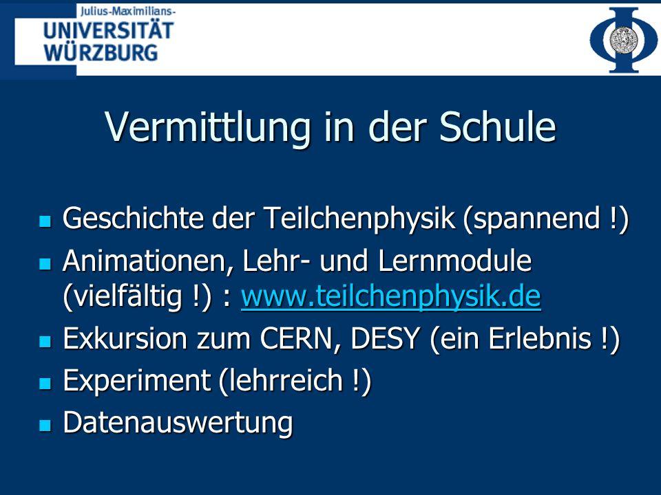 Vermittlung in der Schule Geschichte der Teilchenphysik (spannend !) Geschichte der Teilchenphysik (spannend !) Animationen, Lehr- und Lernmodule (vielfältig !) : www.teilchenphysik.de Animationen, Lehr- und Lernmodule (vielfältig !) : www.teilchenphysik.dewww.teilchenphysik.de Exkursion zum CERN, DESY (ein Erlebnis !) Exkursion zum CERN, DESY (ein Erlebnis !) Experiment (lehrreich !) Experiment (lehrreich !) Datenauswertung Datenauswertung