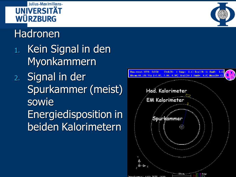 Hadronen 1.Kein Signal in den Myonkammern 2.