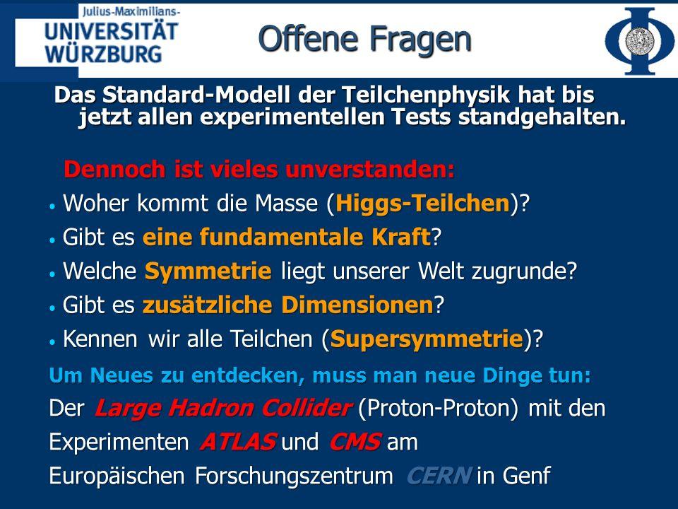 Offene Fragen Das Standard-Modell der Teilchenphysik hat bis jetzt allen experimentellen Tests standgehalten.