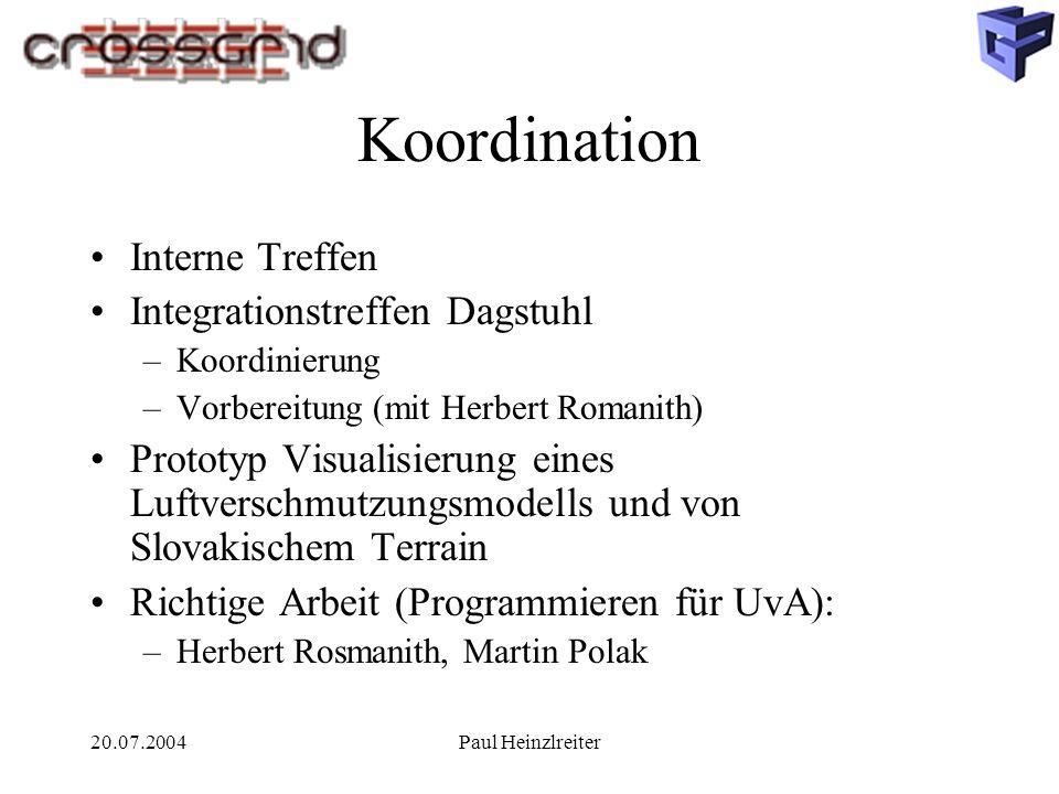 20.07.2004Paul Heinzlreiter Koordination Interne Treffen Integrationstreffen Dagstuhl –Koordinierung –Vorbereitung (mit Herbert Romanith) Prototyp Vis