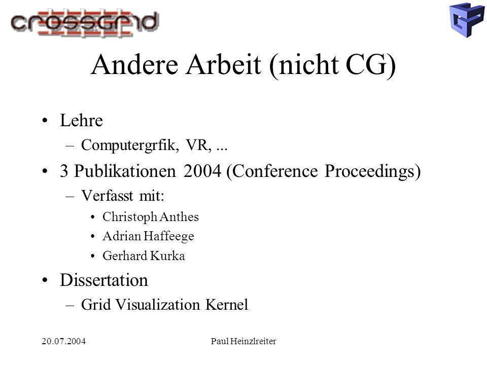 20.07.2004Paul Heinzlreiter Andere Arbeit (nicht CG) Lehre –Computergrfik, VR,... 3 Publikationen 2004 (Conference Proceedings) –Verfasst mit: Christo