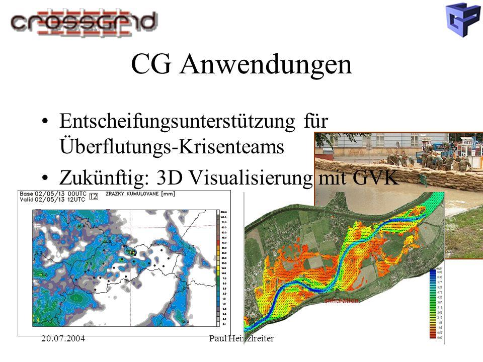 20.07.2004Paul Heinzlreiter CG Anwendungen simulation Entscheifungsunterstützung für Überflutungs-Krisenteams Zukünftig: 3D Visualisierung mit GVK