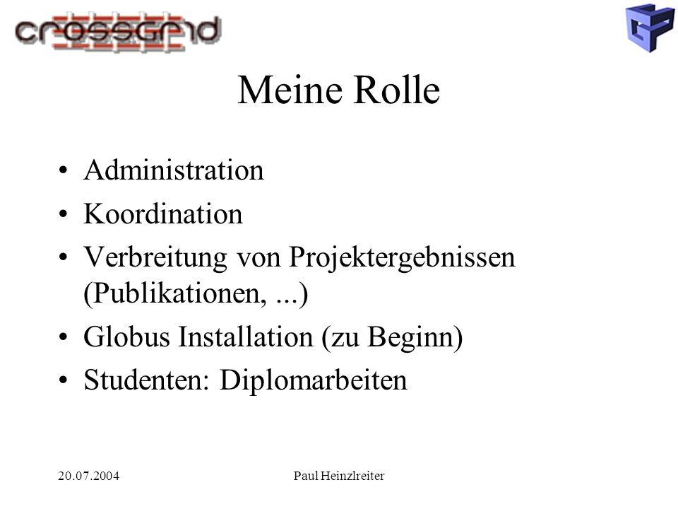 20.07.2004Paul Heinzlreiter Meine Rolle Administration Koordination Verbreitung von Projektergebnissen (Publikationen,...) Globus Installation (zu Beg