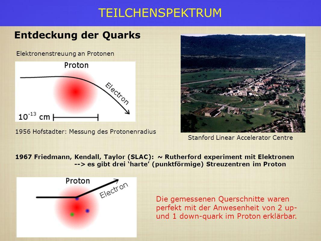 TEILCHENSPEKTRUM Elektronenstreuung an Protonen Entdeckung der Quarks Stanford Linear Accelerator Centre 1956 Hofstadter: Messung des Protonenradius 1