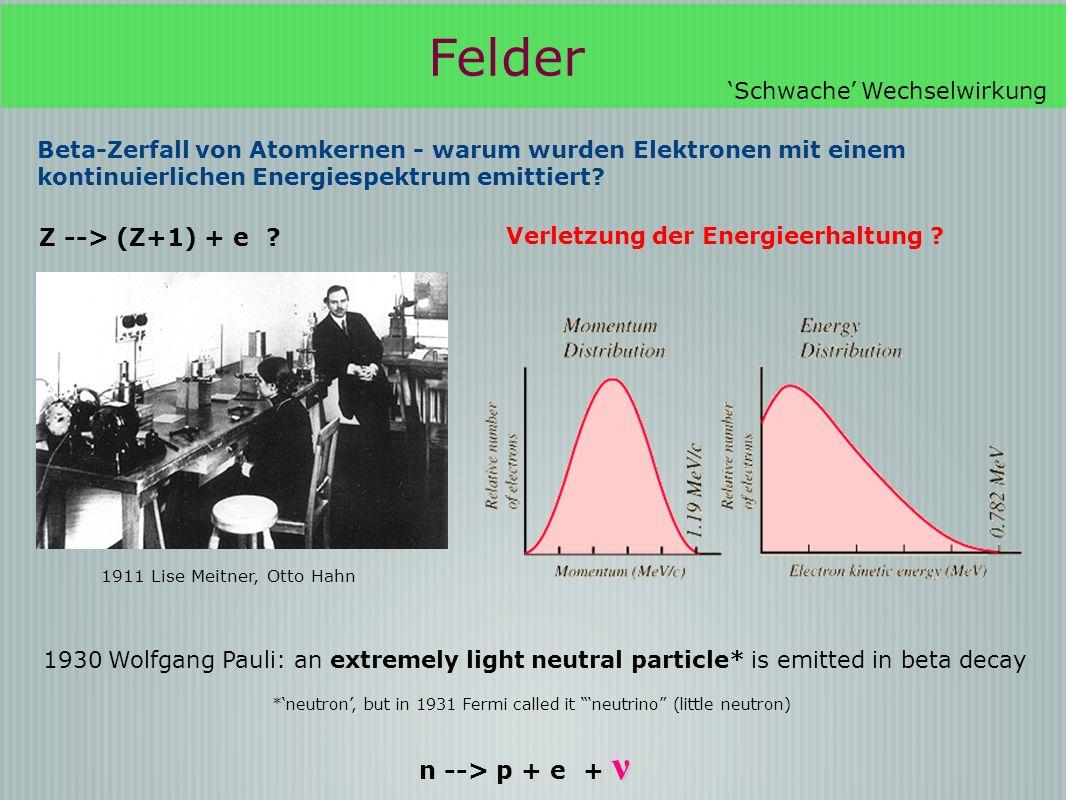 Beta-Zerfall von Atomkernen - warum wurden Elektronen mit einem kontinuierlichen Energiespektrum emittiert.
