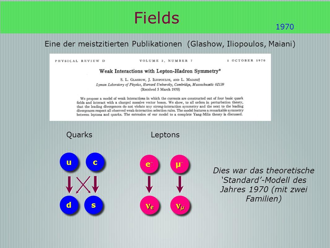 Fields Eine der meistzitierten Publikationen (Glashow, Iliopoulos, Maiani) 1970 c c u u d d s s Quarks νeνeνeνe νeνeνeνe νμνμνμνμ νμνμνμνμ e-e- e-e- µ