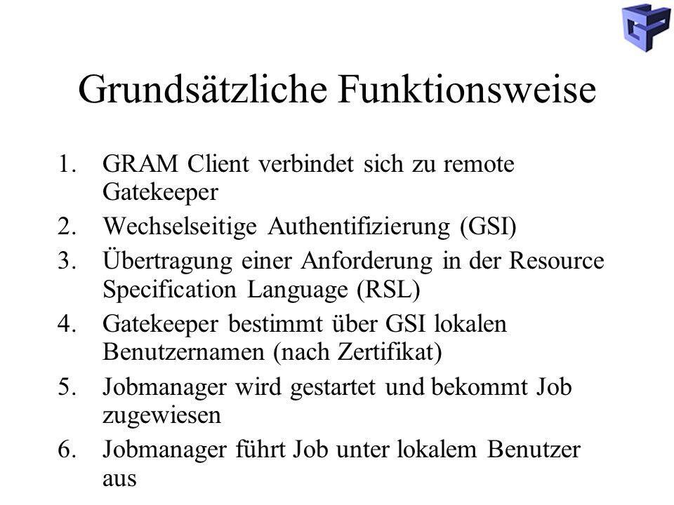 Grundsätzliche Funktionsweise 1.GRAM Client verbindet sich zu remote Gatekeeper 2.Wechselseitige Authentifizierung (GSI) 3.Übertragung einer Anforderung in der Resource Specification Language (RSL) 4.Gatekeeper bestimmt über GSI lokalen Benutzernamen (nach Zertifikat) 5.Jobmanager wird gestartet und bekommt Job zugewiesen 6.Jobmanager führt Job unter lokalem Benutzer aus