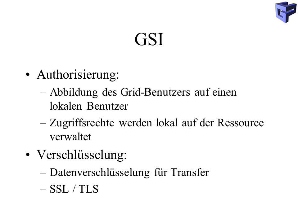 GSI Authorisierung: –Abbildung des Grid-Benutzers auf einen lokalen Benutzer –Zugriffsrechte werden lokal auf der Ressource verwaltet Verschlüsselung: –Datenverschlüsselung für Transfer –SSL / TLS